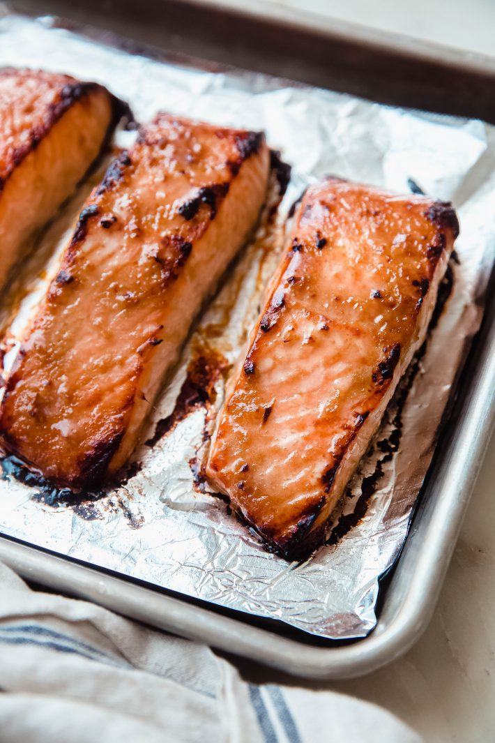 miso ginger salmon on foil lined sheetpan