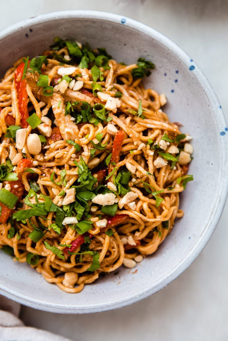 Weeknight Sesame Peanut Noodles with Chicken