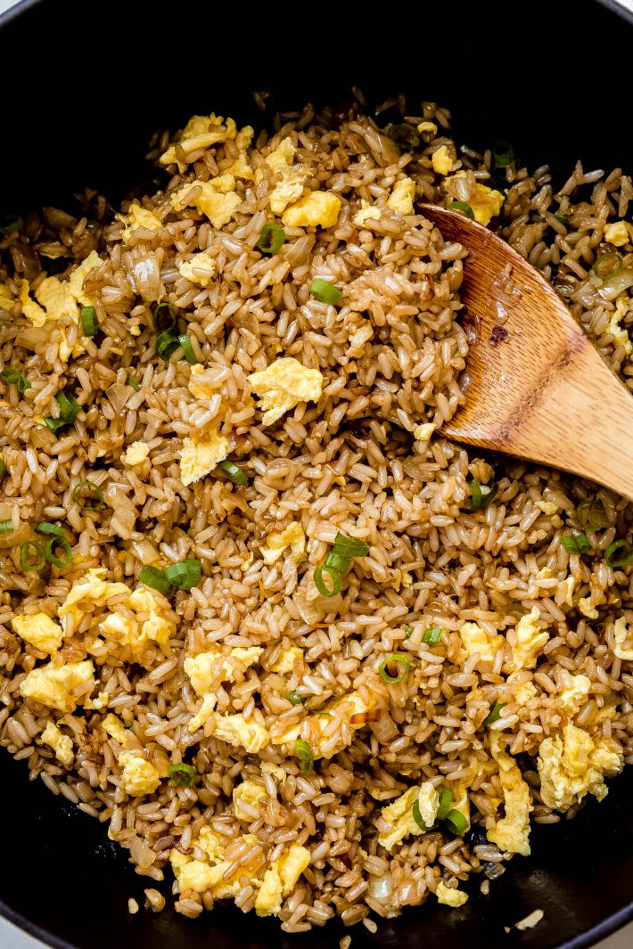 close up of hibachi fried rice
