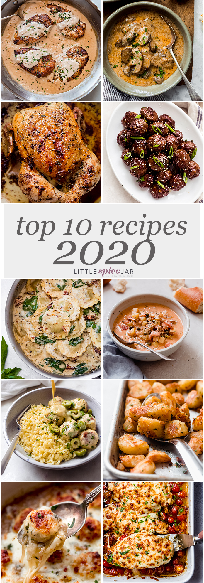 top 10 recipes of 2020 in one pinterest image