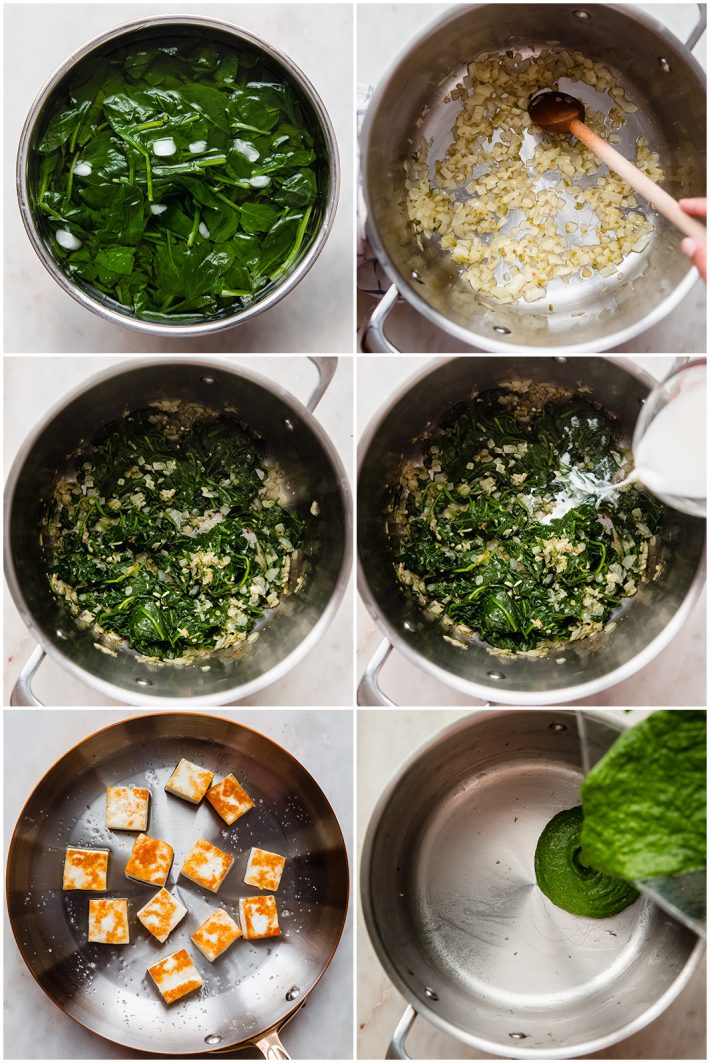 the steps to blanching and pureeing spinach and preparing the puree