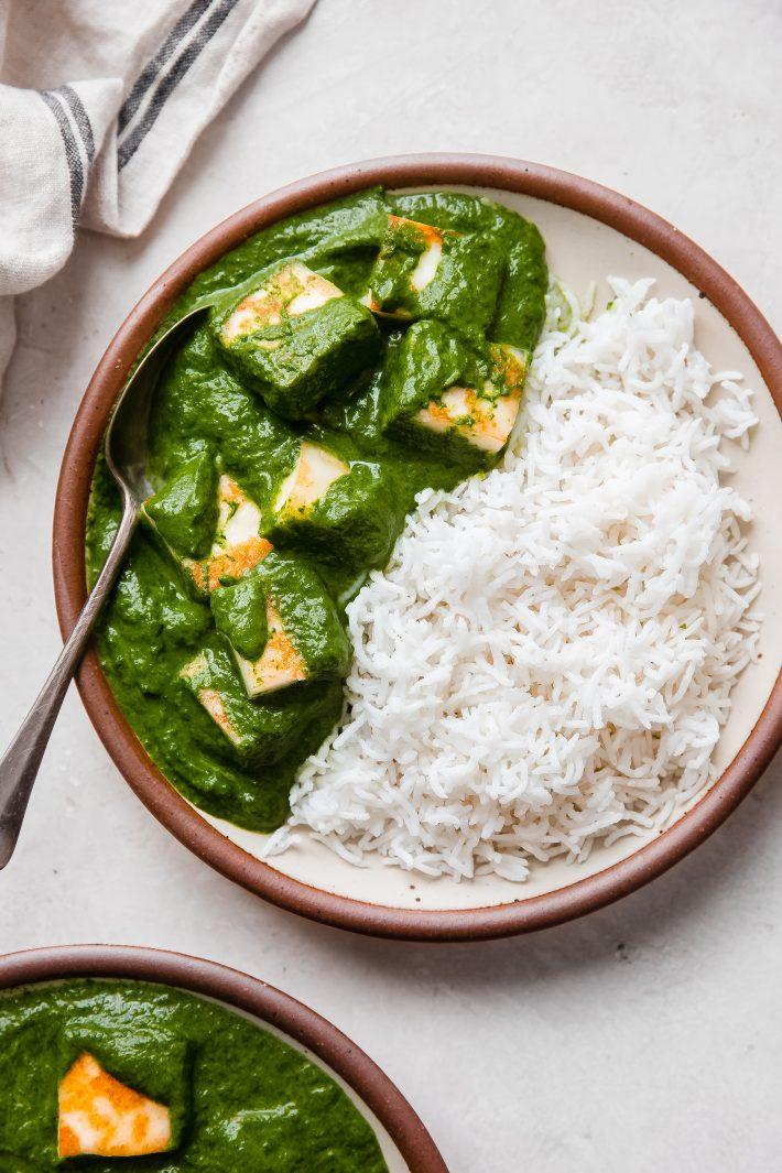 Saag Paneer on plate with basmati rice