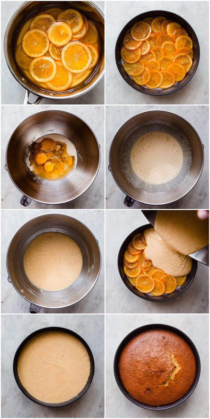 images showing how to make Italian orange cake and candied oranges