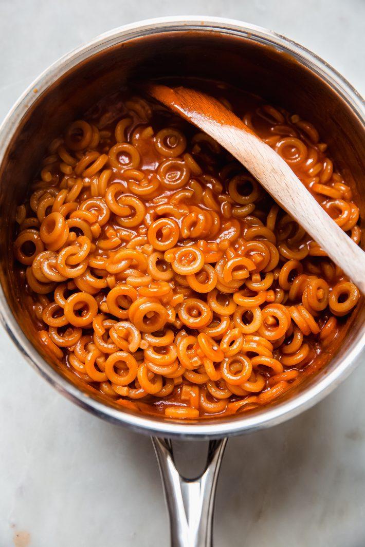 saucepan with prepared spaghettiOs