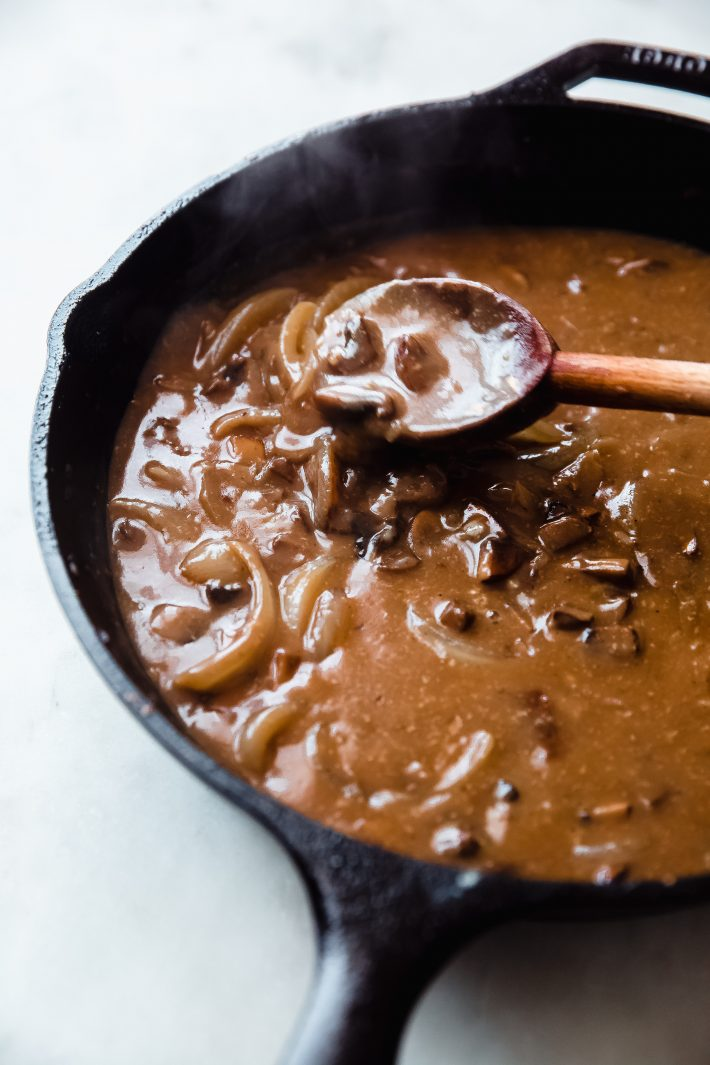 onions and mushroom gravy for meatballs