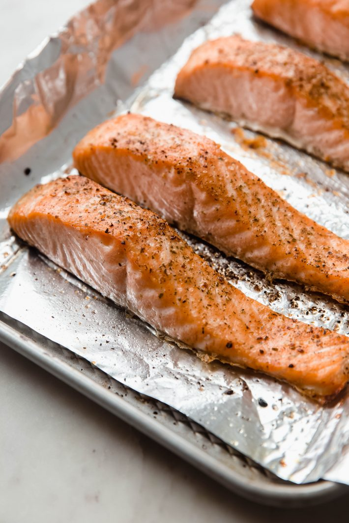 broiled salmon on sheet pan