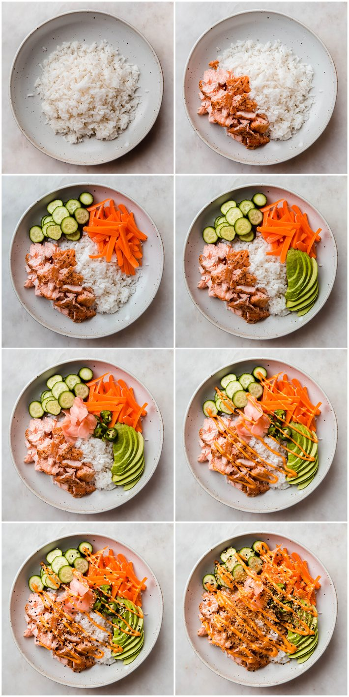 how to put together a salmon sushi bowl step by step