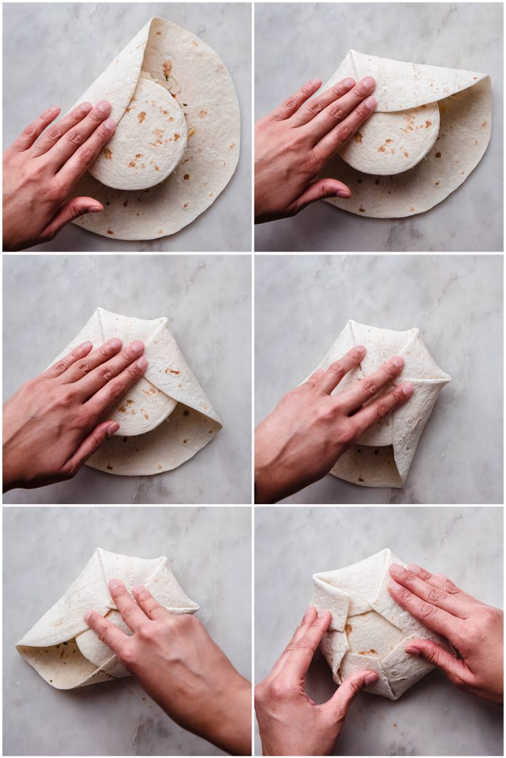 the six steps to fold the outer tortilla to create the wrap