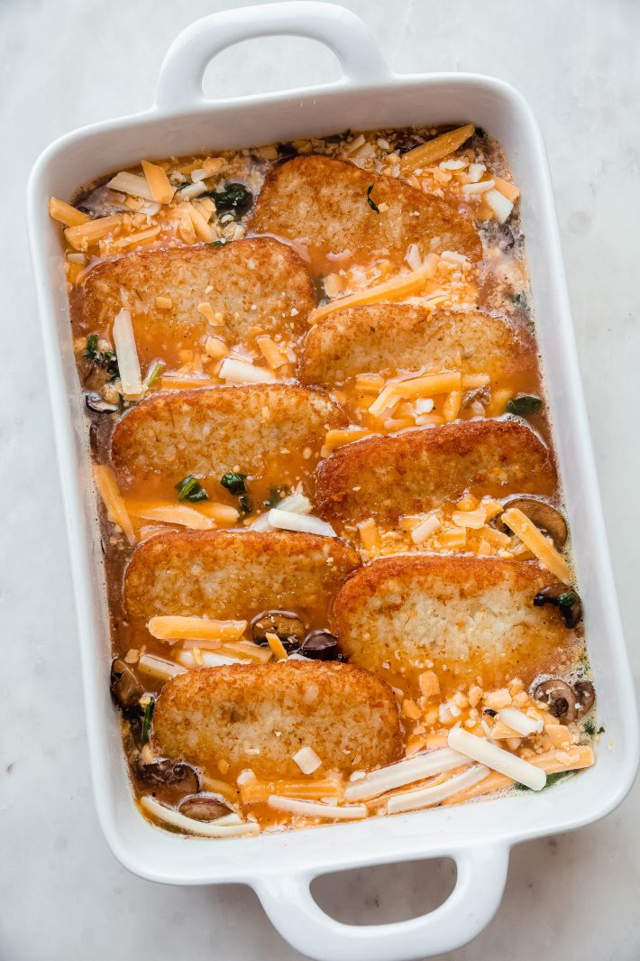 casserole layered before baking in pan