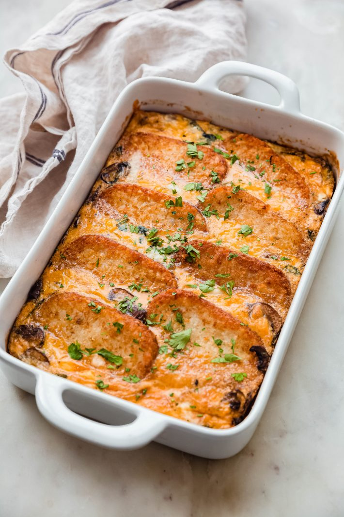 cheddar hash brown casserole in baking dish