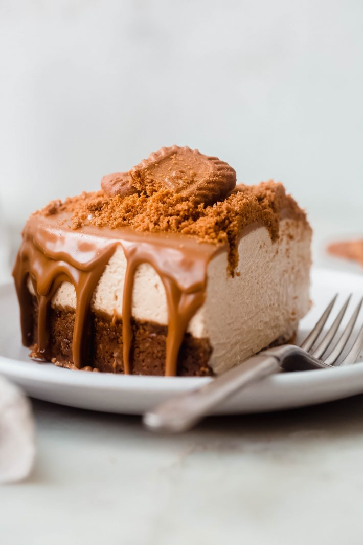 no-bake Biscoff Cheesecake slice on plate with fork