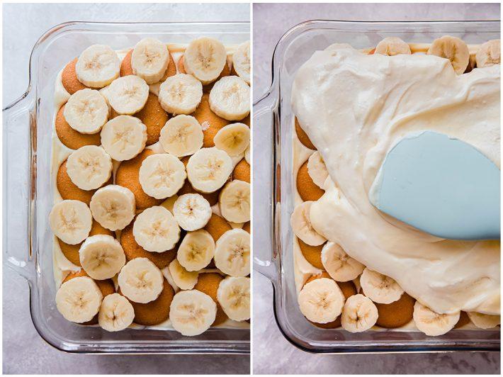 layering banana pudding with wafers, bananas, and adding vanilla pudding on top