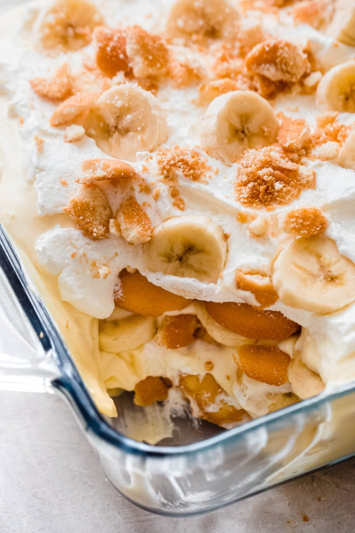 showing inside texture of banana pudding