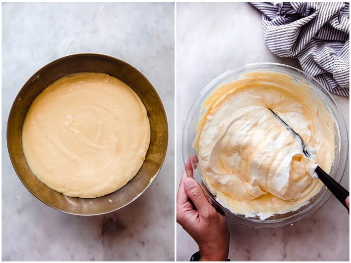 vanilla pudding and vanilla pudding being mixed with freshly whipped cream