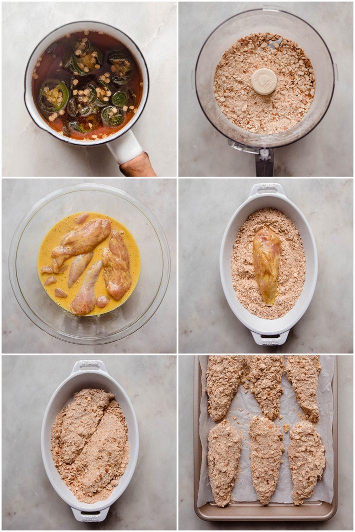 process of making hot honey and dredging pretzel chicken tenders