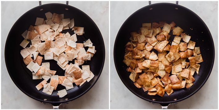 before and after of pita bread fried in oil