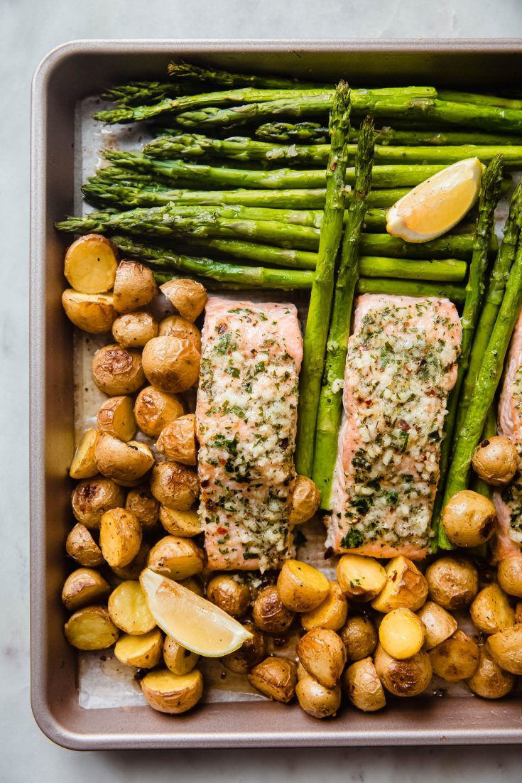 Sheet Pan Garlic Butter Salmon with Roasted Potatoes and Asparagus