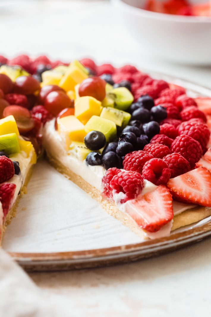showing texture of sugar cookie base on fruit pizza
