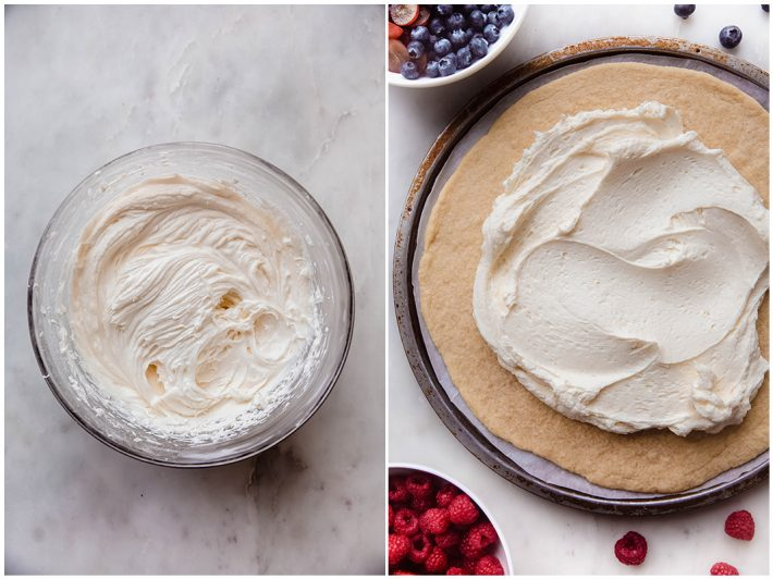 whipped cream cheese icing and iced sugar cookie crust