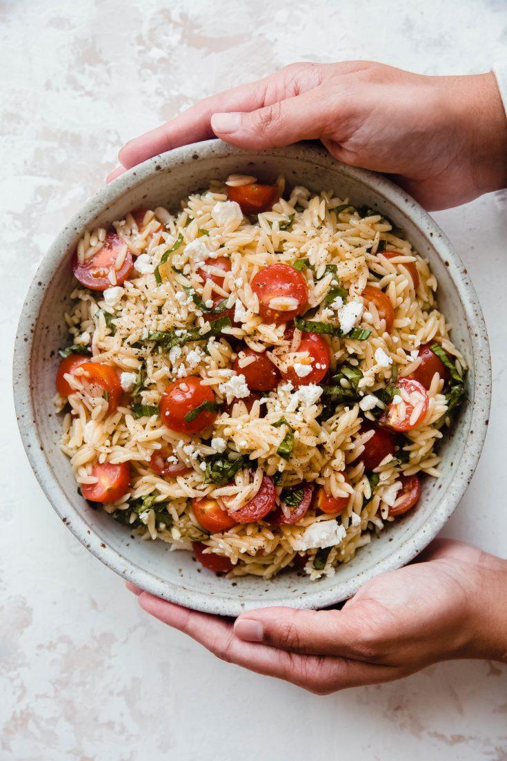 Tomato Basil and Feta Orzo Salad