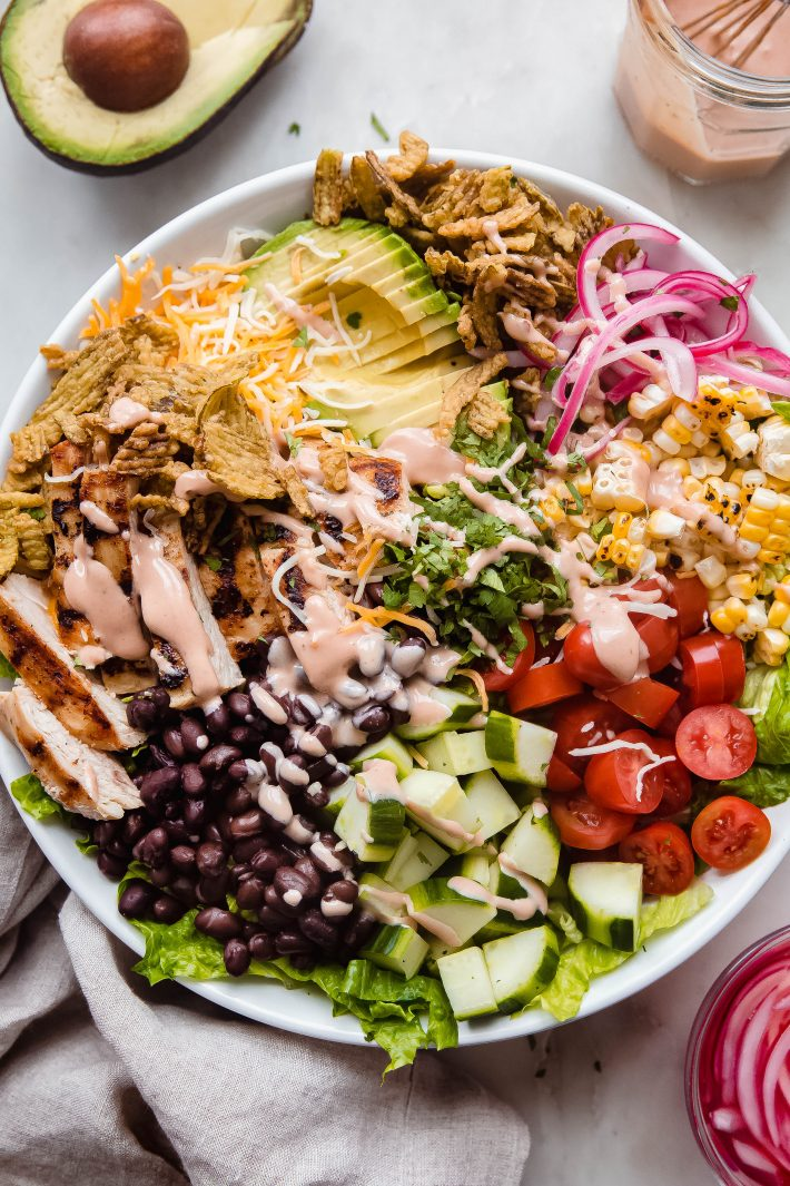 dressed bbq ranch salad in white bowl
