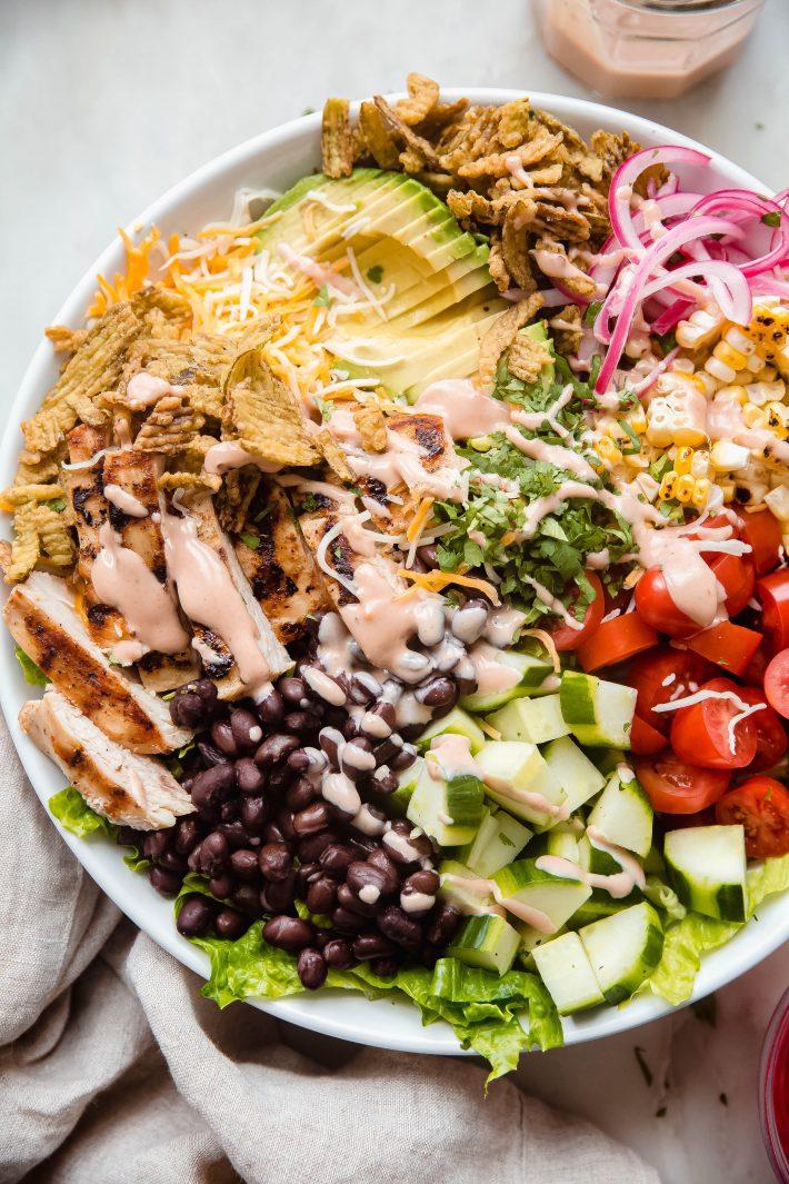 close up shot of bbq chicken salad