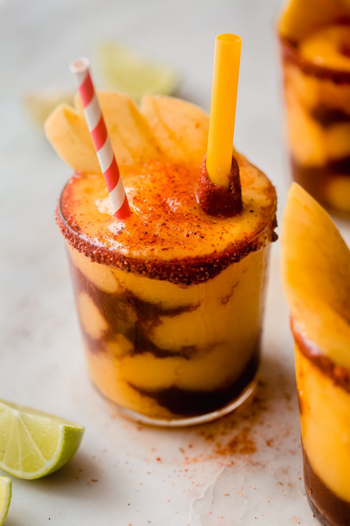 mangonada layered with chamoy in clear glass