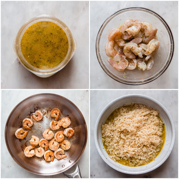 process for making dressing, marinating shrimp, cooked shrimp, and pasta