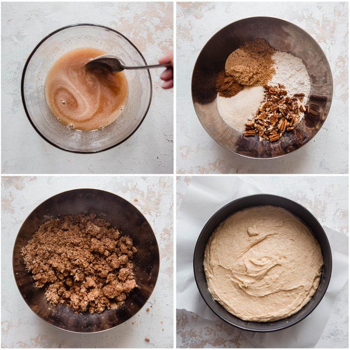 steps for making cinnamon pecan coffee cake