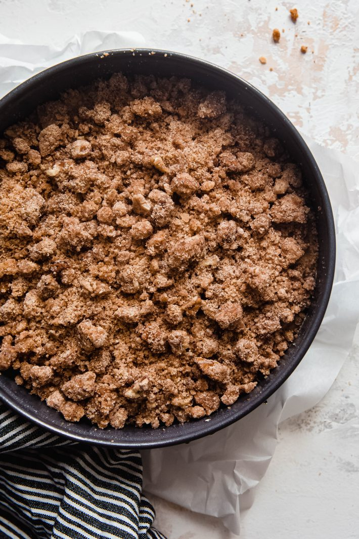 brown butter streusel on coffee cake before baking
