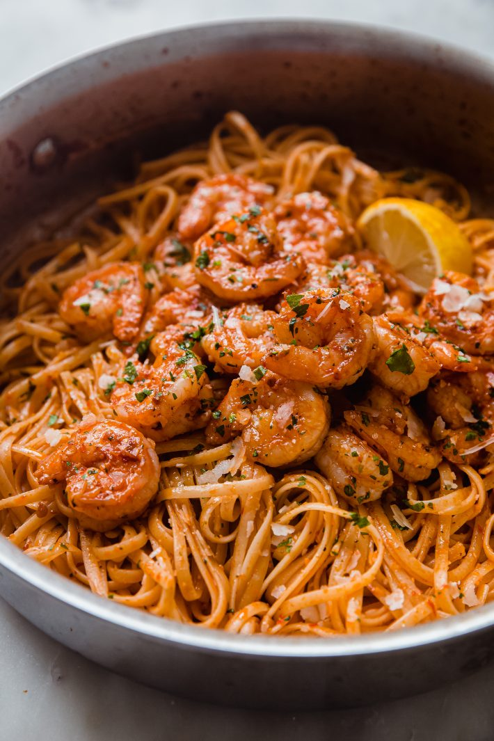close up of Calabrian chili pasta with shrimp