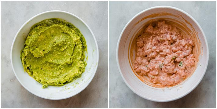 wasabi avocado and spicy salmon mixture in separate bowls