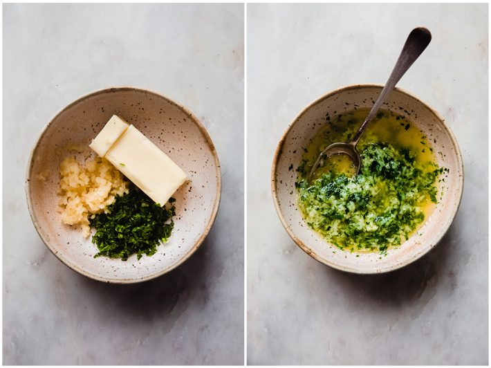 garlic parsley butter before and after melting