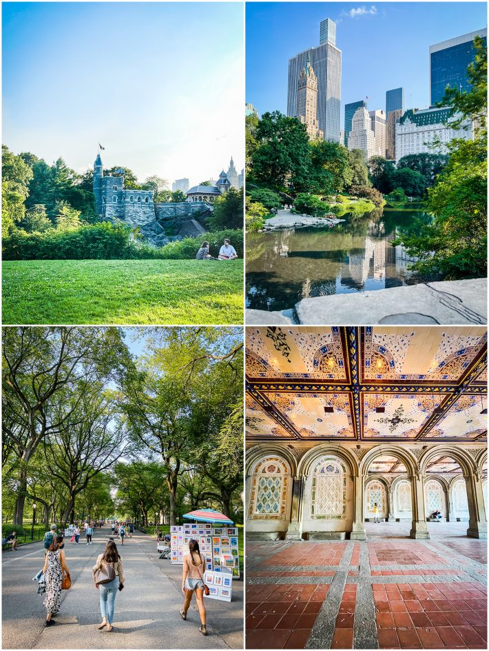 central park views of Belvedere castle, Plaza Hotel, and Bethesda Fountain