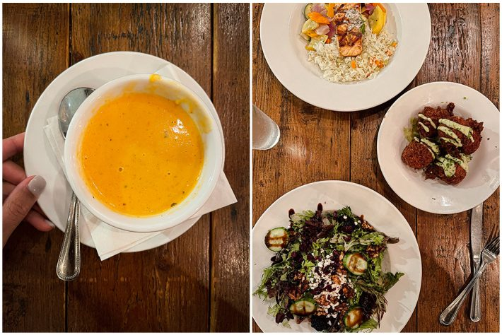 soup, salmon, fritters, and salad from Idletyme Brewing Company